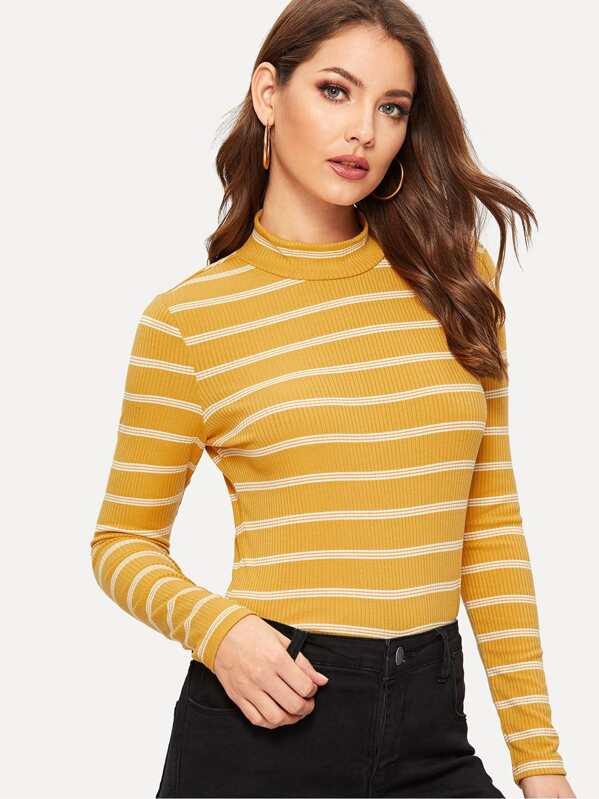Mock Neck Rib-knit Striped Tee