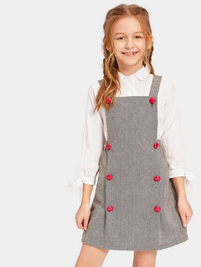 Girls Double Breasted Herringbone Pinafore Dress