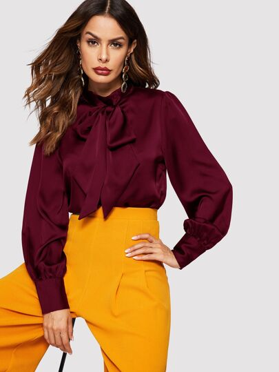 04b624bdaeb Tie Neck Bishop Sleeve Satin Blouse