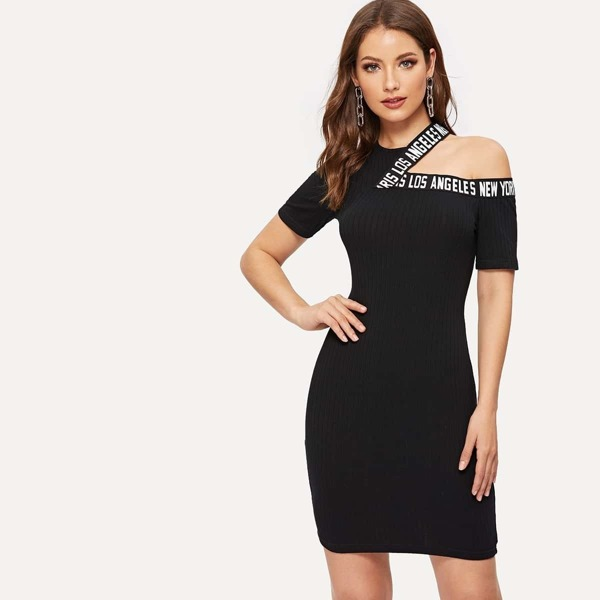Cut-out Shoulder Letter Tape Rib Dress
