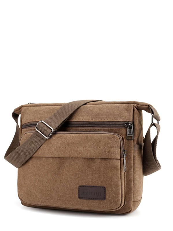 0542ce6375 Men Patch Canvas Crossbody Bag -SHEIN(SHEINSIDE)