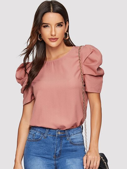 4a01f2c8467 Keyhole Back Puff Sleeve Top