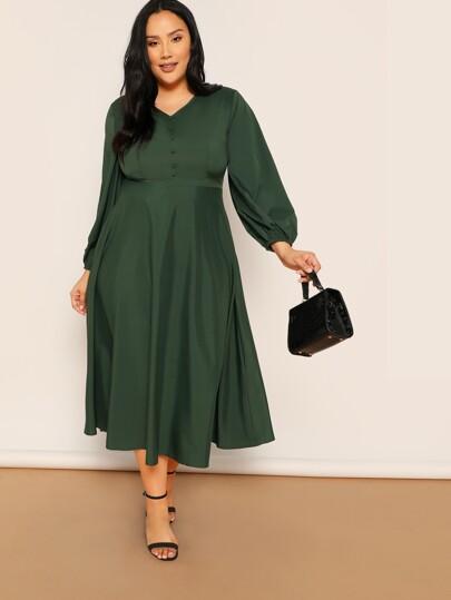 83df9747cf4a5 Yeşil Buton Sade Gündelik Artı Beden Elbiseler