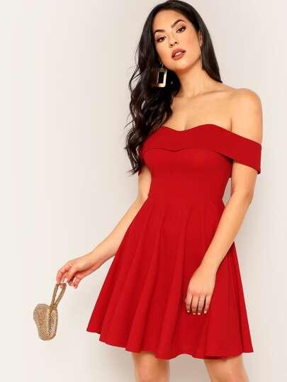 2b40f0015642 Foldover Bardot Flare Prom Dress