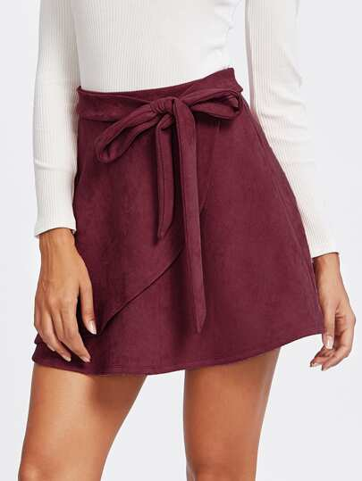 2944b061ac0 Suede Wrap Knotted Skirt