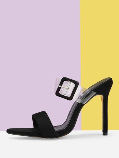 2e07e559c17 Transparent Buckle Decor Heels