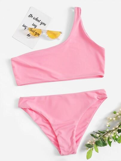 69d2883aa117e3 One Shoulder Top With Panty Bikini Set