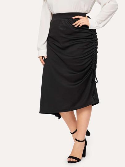 9d86ecbce40 Plus Solid Drawstring Side Skirt