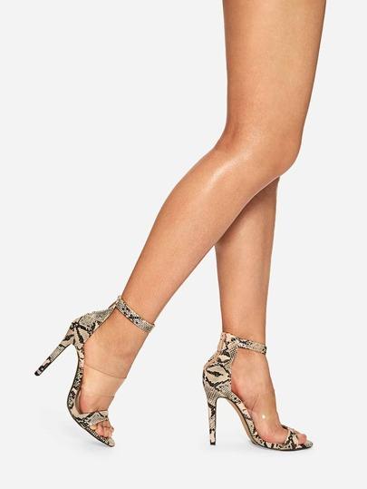 57a41ffe79e Snakeskin Pattern Ankle Strap Heels
