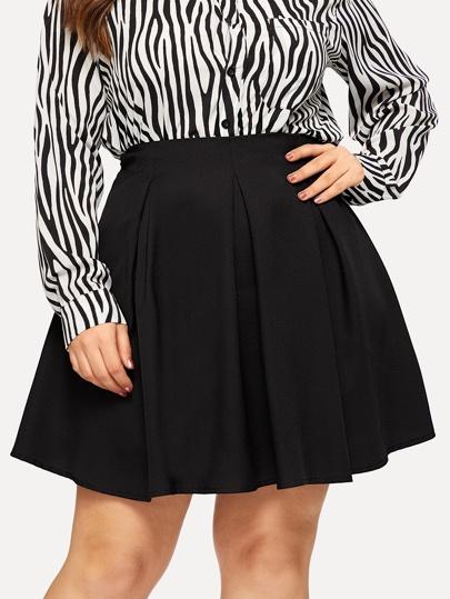 26495e439eaf28 Plus Zip Back Solid Skirt