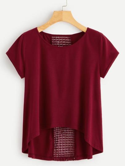 f3dc8428f8832 Camiseta asimétrica de espalda de croché en contraste