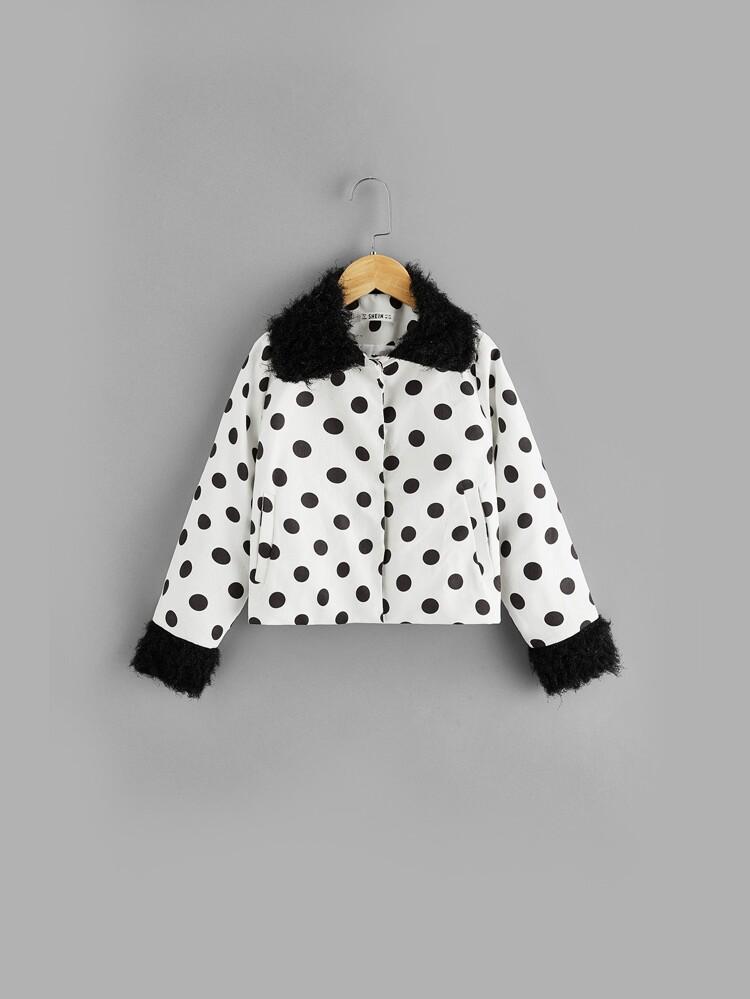 02ec01f196 Girls Contrast Faux Fur Polka-dot Jacket   SHEIN