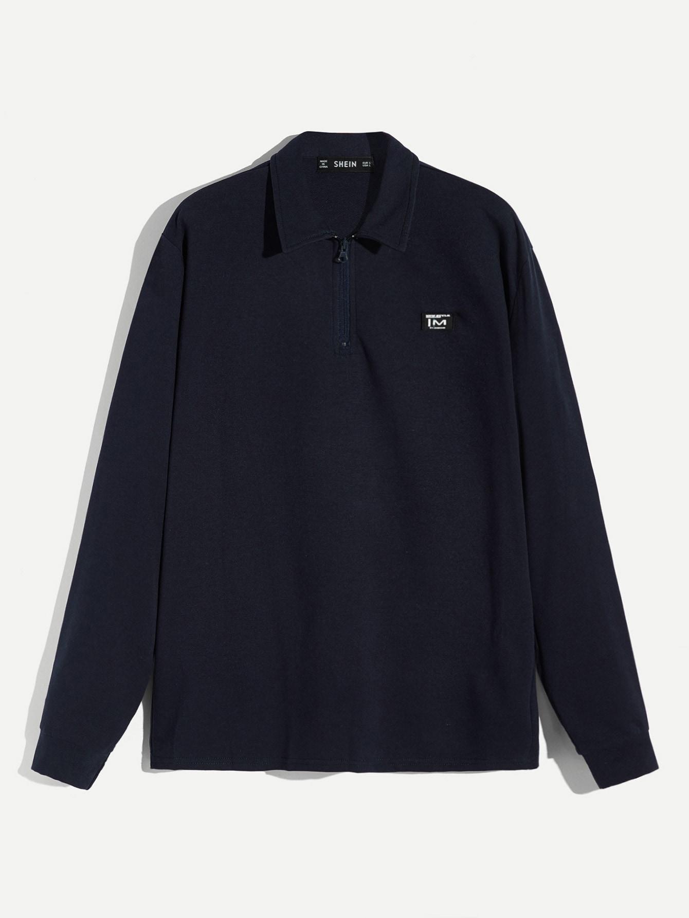 c1297cdd21 Men Zip Half Placket Striped Cuff Polo Shirt -SHEIN(SHEINSIDE)