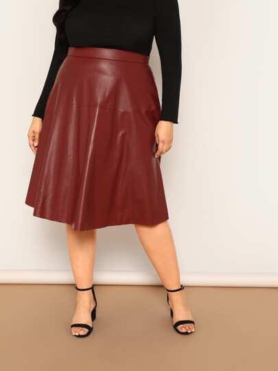 c81b3c6acece7d Plus High Waist PU Skirt