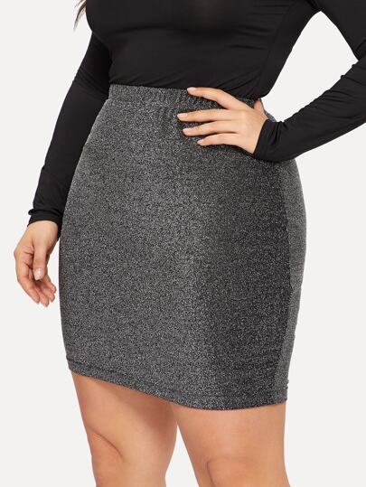 acb0304359e Plus Elastic Waist Glitter Bodycon Skirt
