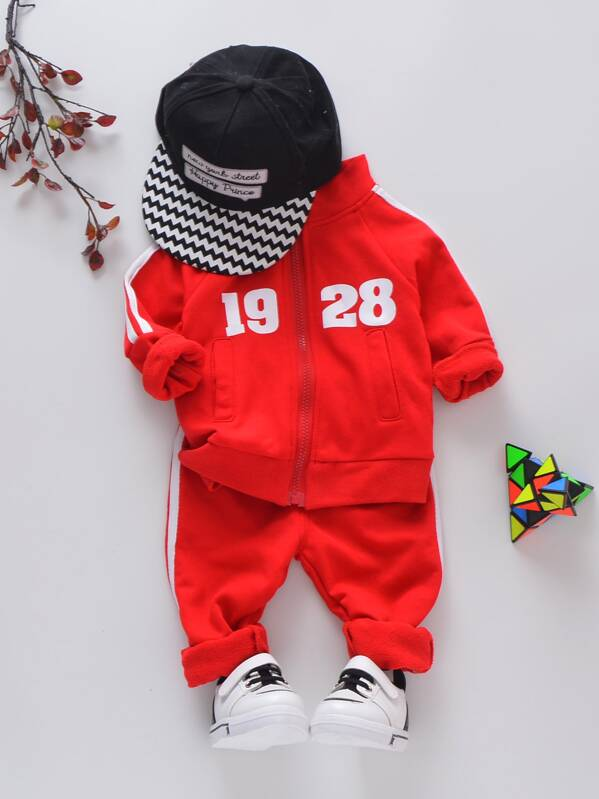 Toddler Boys Raglan Sleeve Letter Print Coat With Pants