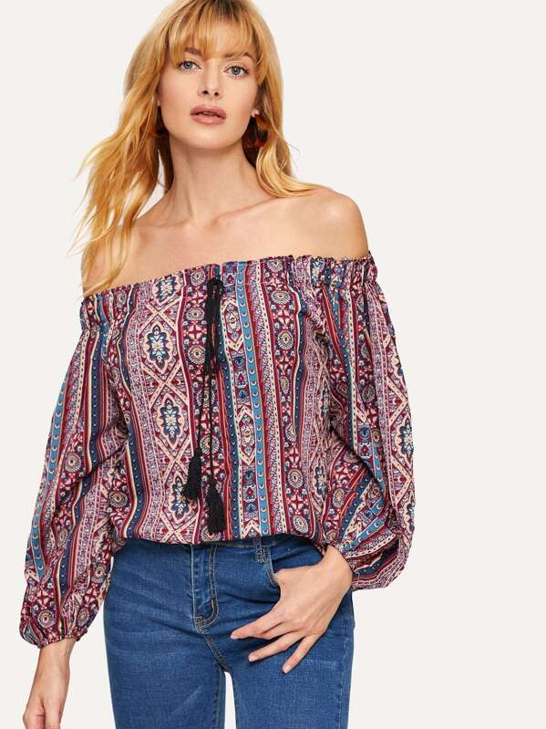 Tribal Print Off The Shoulder Blouse
