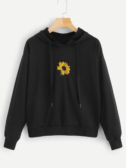 06e9ca976109c Plus Floral Embroidery Hooded Sweatshirt