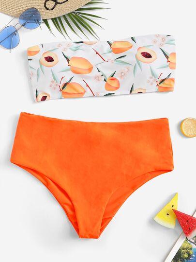 5f8242109b Plus Peach Print Bandeau With High Waist Bikini