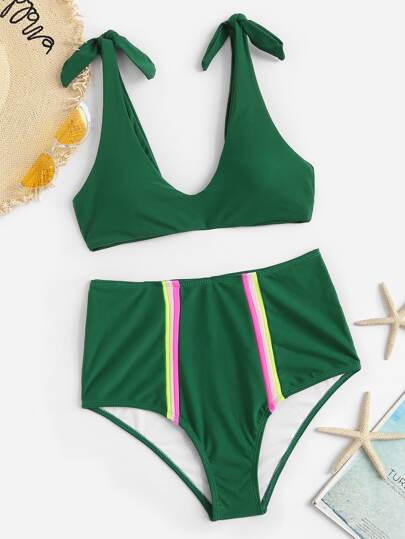 9752b32d47 Self Tie Top With Striped High Waist Bikini