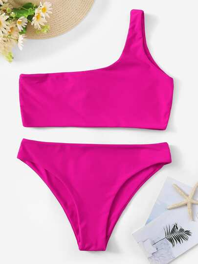 1232acdfab One Shoulder Top With Panty Bikini Set