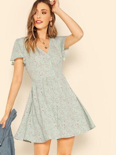 1205d16f6dfd Button Front Ditsy Floral Tea Dress