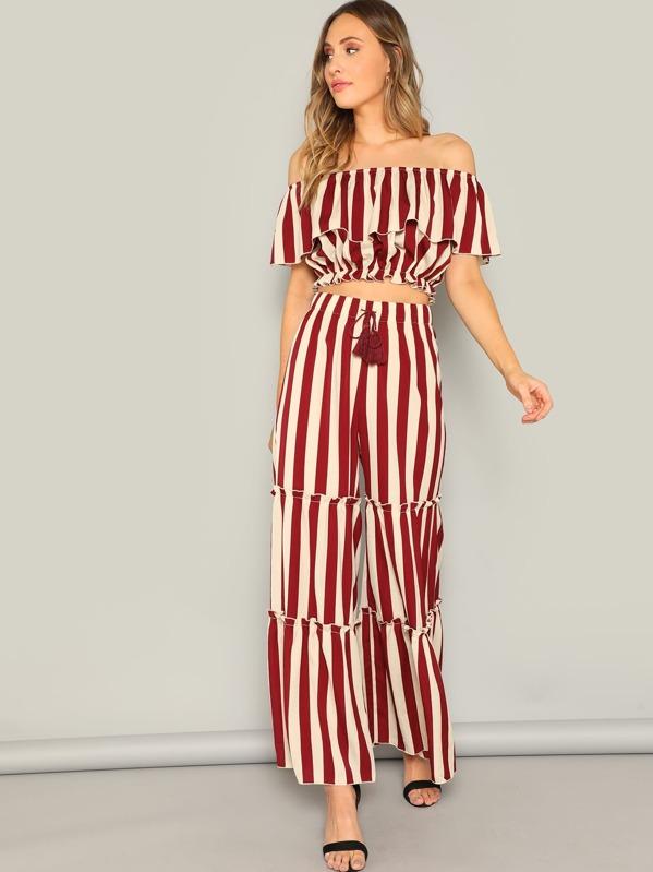 91966986a66ca Ruffle Detail Striped Bardot Top   Tired Pants Set