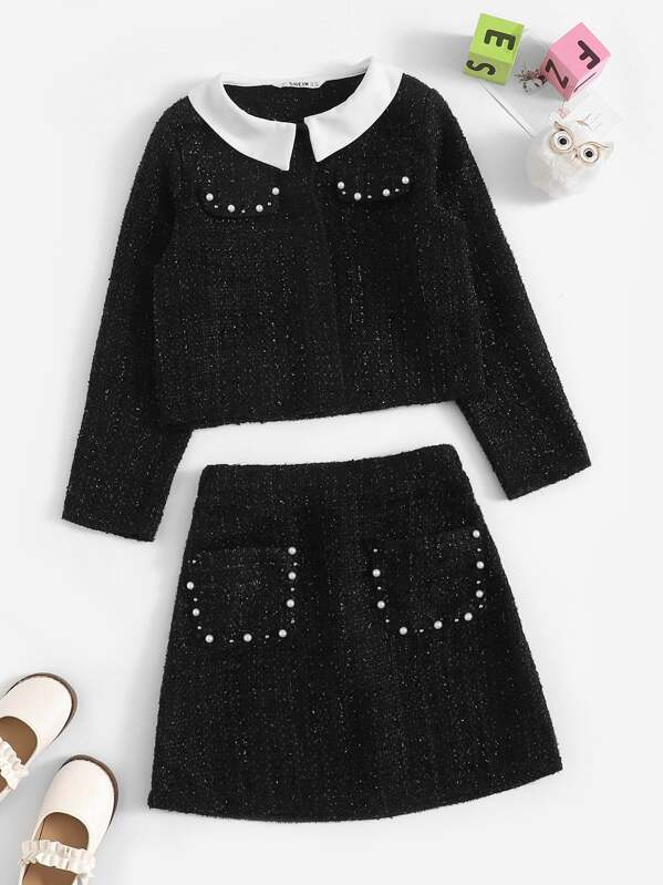 Girls Contrast Collar Pearl Tweed Top and Skirt Set