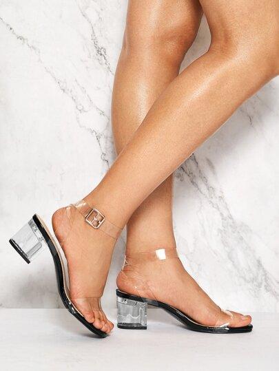 7b2e0930f5c Transparent Ankle Strap Chunky Heels