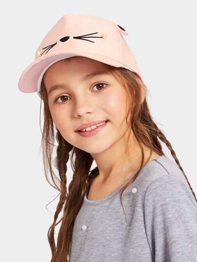 Girls Faux Pearl   Embroidery Decor Baseball Cap ba6c6dc2d0b