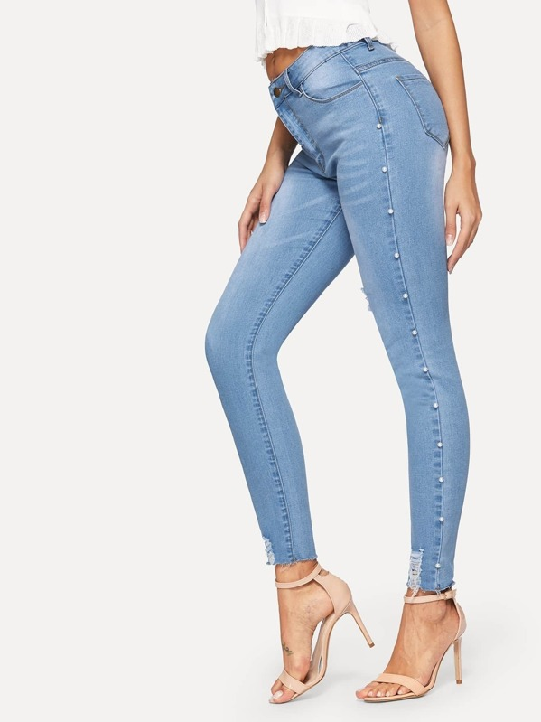5d599a64123 Faux Pearl Beaded Raw Hem Ripped Jeans | SHEIN