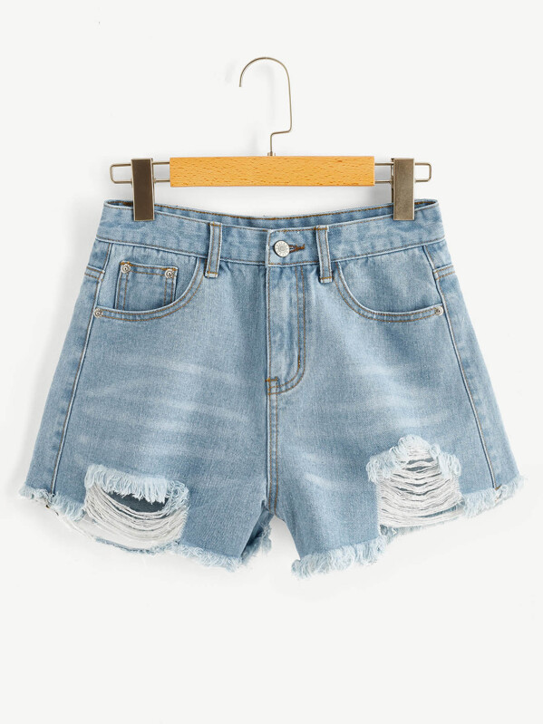 Raw Hem Ripped Faded Denim Shorts