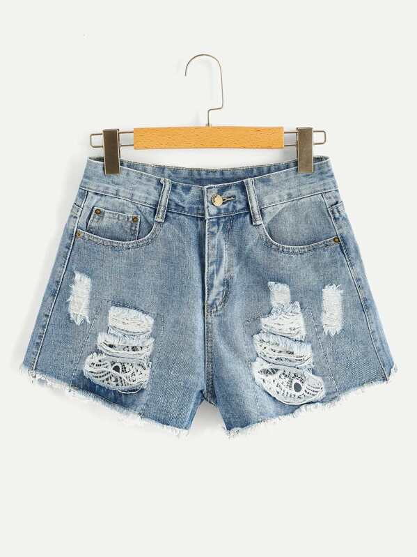 Raw Hem Bleach Wash Ripped Denim Shorts