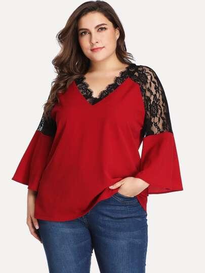 e573d86cb37 Plus Contrast Lace V-neck Blouse