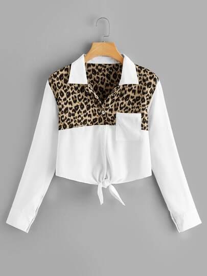 Färgrikedom Knut Leopard Tillfällig Blusar 008a243cfc8a0