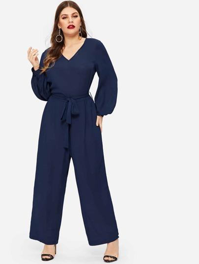 6e3689d307f14 Plus Wide Leg Self Tie Jumpsuit