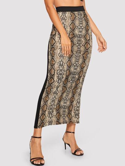 e407893b23ce Contrast Panel Side Snake Print Skirt