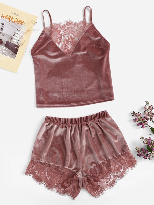 Lace Insert Velvet Cami Top & Shorts PJ Set