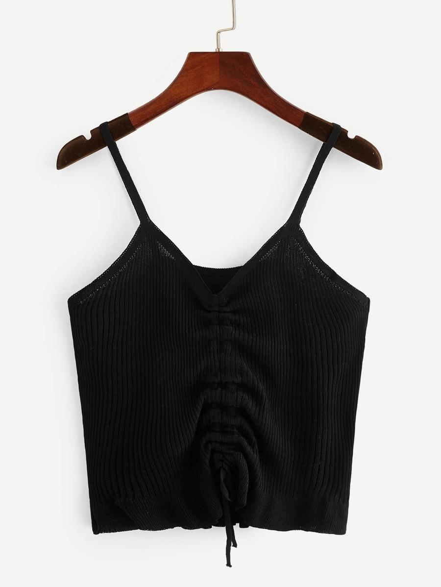 V Neck Gathered Detail Rib Knit Cami Top by Shein