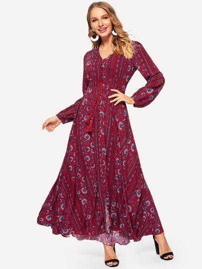b261af9701a Shirred Drawstring Waist Button Through Floral Dress