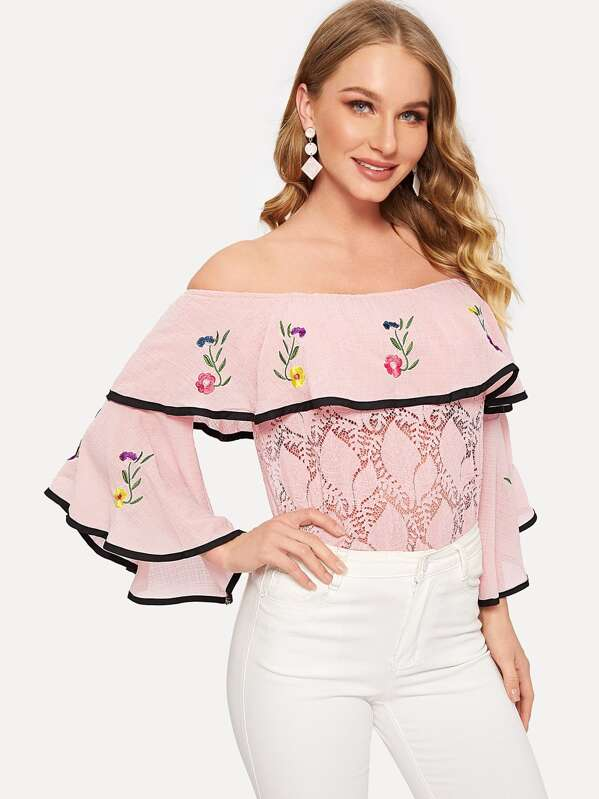 Off Shoulder Flounce Sleeve Lace Insert Top