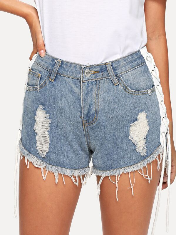 Raw Hem Ripped Bleach Wash Denim Short