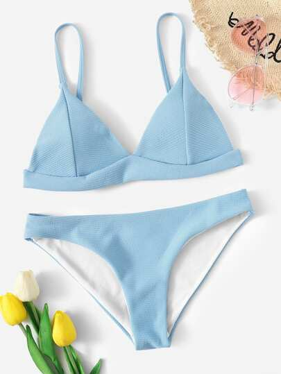 dd4c878094e43 Seam Detail Triangle Top With Panty Bikini Set