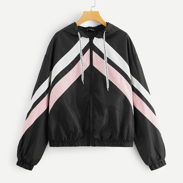 Zip Up Cut-and-Sew Chevron Drawstring Hooded Jacket