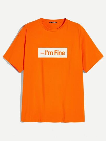 Camiseta con letra naranja neón de hombres c2687bfa73b08