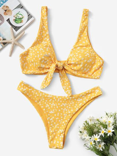 c02398bbe029fd Calico Print Knot Front Top With Cheeky Bikini
