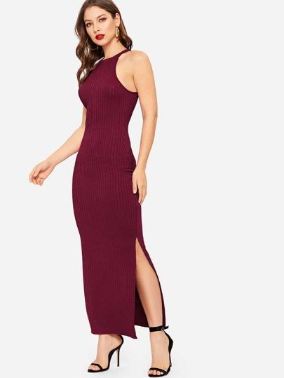 Vestido ajustado tejido de canalé halter bajo con abertura de espalda con  abertura 757363874c5c
