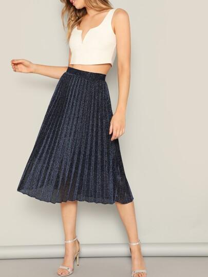 daf93b60a717e High Waist Pleated Glitter Skirt