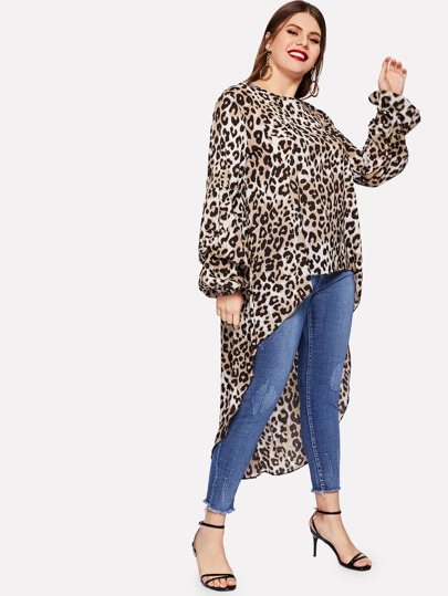 b4bfdae0c77 Plus Cheetah Print High Low Blouse