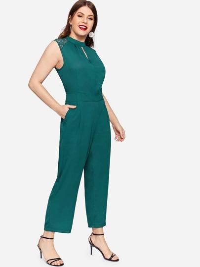 71c3c7765ca3 Plus Solid Contrast Lace Jumpsuit
